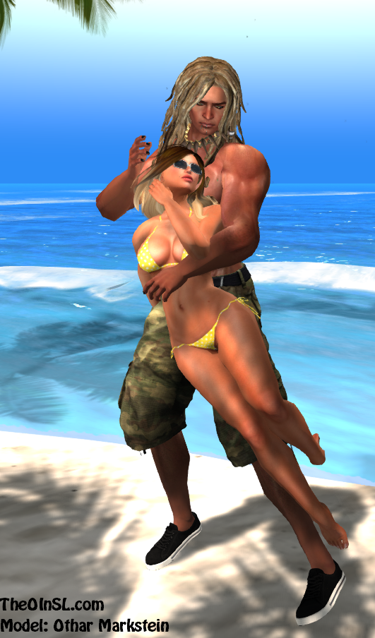 Savage sexy islander Holding her in my arms on a romantic beach.